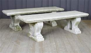 Pair Antique Marble Garden Benches