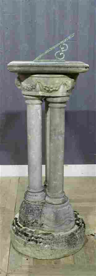 19th C Sundial Marble and Limstone Pedestal