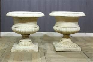19th Century Pair Marble Urns