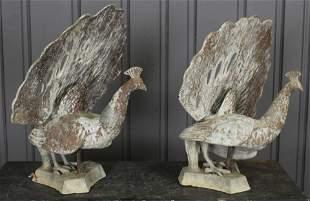 Pair Lead Peacocks