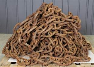 180' Long Length of 19th Century Iron Link Chain
