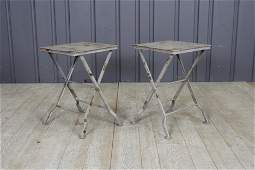Pair Campaign Style Folding Tables