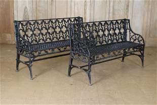 Pair Gothic Style Cast Iron Garden Benches