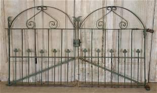 Pair Wrought Iron Trefoil Theme Garden Gates