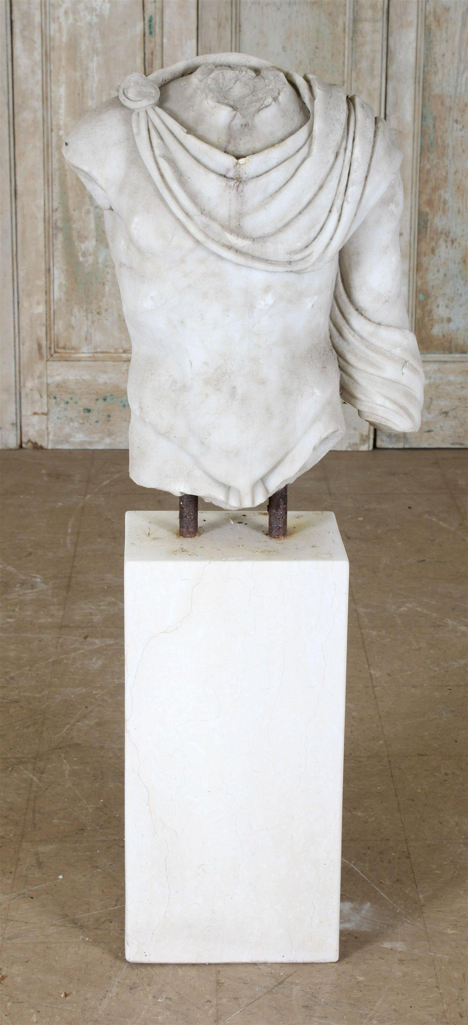 Figural Carved Marble Roman Torso Sculpture
