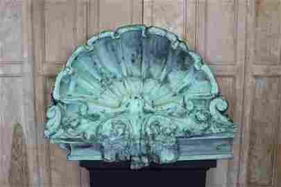 Architectural Verdigris Copper Clamshell Cornice