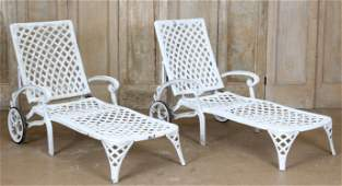 Pair Cast Aluminum Poolside Chaises