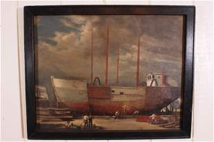 WPA Inspired Shipbuilding Scene