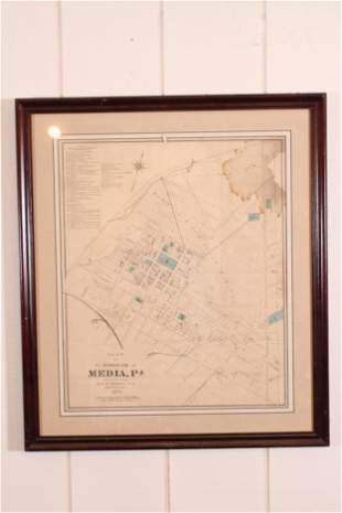 19th C Map of Media Pennsylvania
