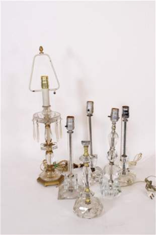 Group of 6 Crystal Dresser Lamps