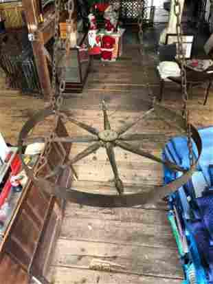 Antique Wheel Ring Chandelier
