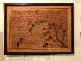 Early 20th C Marquetry Panel Signed