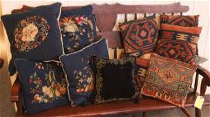 Decorator's Lot of Kilim and Needlepoint Pillows