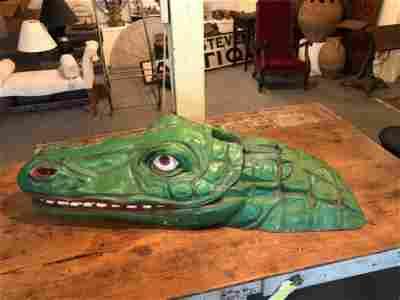 Whimsical Folk Art Carnival Attraction Alligator