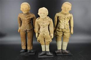 3 Soldier Cloth Dolls With Stands