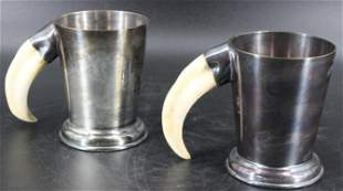 Pair of English Boar's Tusk Handled Cups
