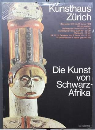1971 Kunsthaus Zurich African Arts Exhibit Poster