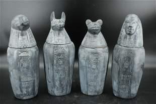 Set Of 4 Soapstone Canopic Jars