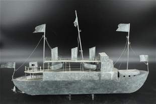 Folk Art Galvanized Tin Scale Model Ship