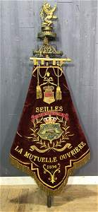 Antique 19th C French Labor Union Parade Banner