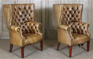 Pair Leather Wing Chairs