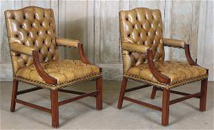 Pair Tufted Leather Open Armchairs