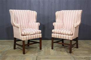 Pair Georgian Style Upholstered Wing Back Chairs