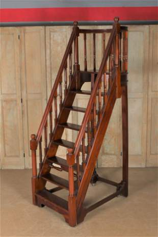 Victorian Style Rolling Library Stairs
