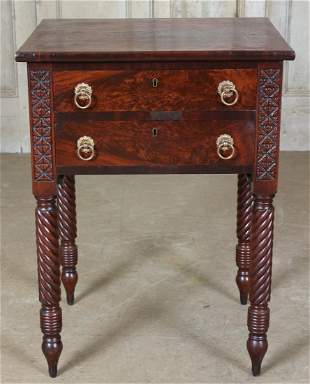 19th C Empire Side Table with Writer's Drawer