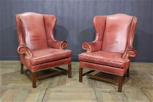 Pair Leather Wingback Chairs
