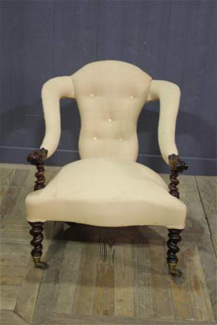19th C English Open Arm Chair