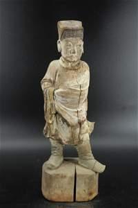 Korean Joseon Style Carved Wood Figure
