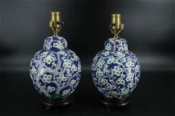 Pair Chinese Enamel Ginger Jar Table Lamps