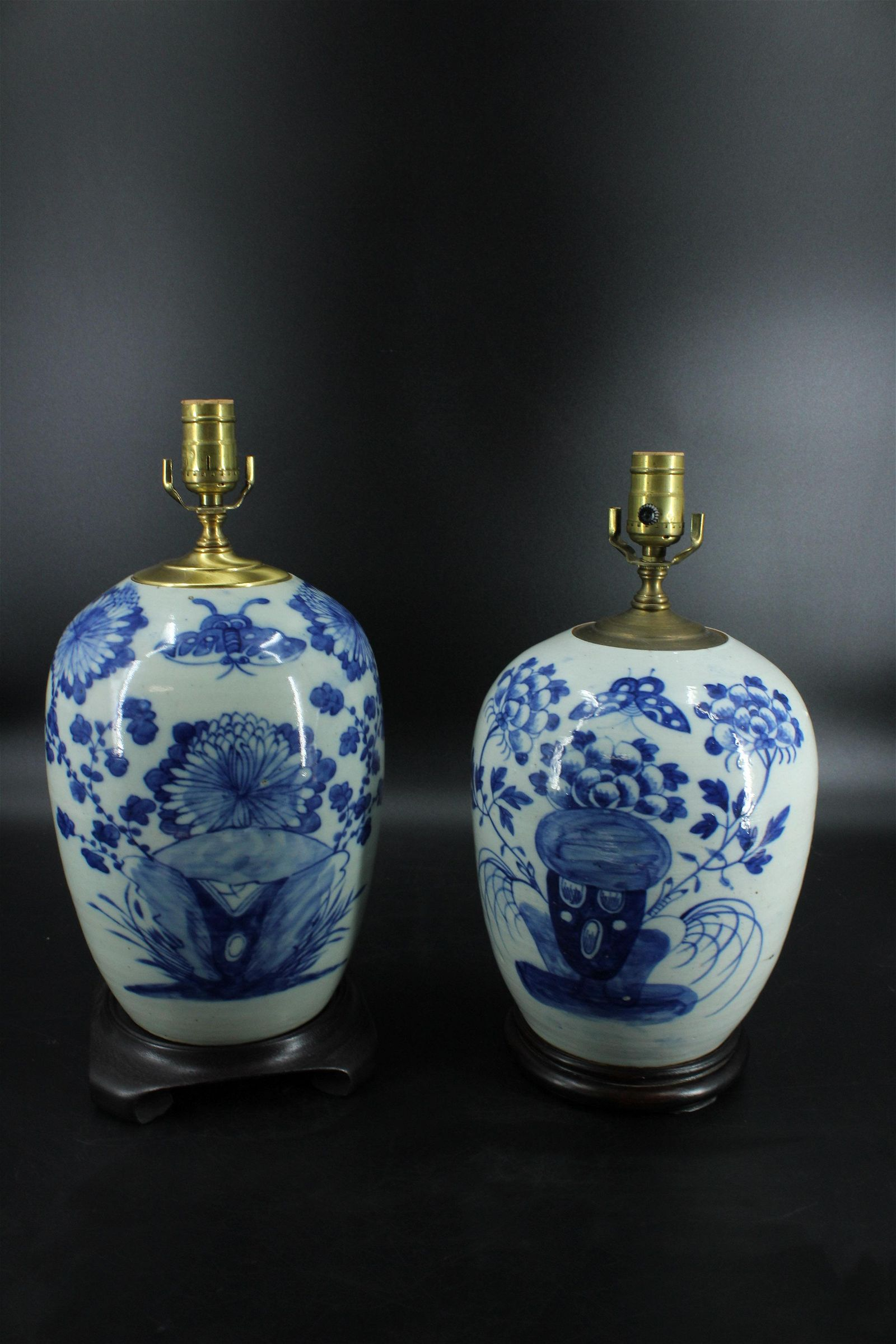 Near Pair Chinese Ginger Jar Table Lamps