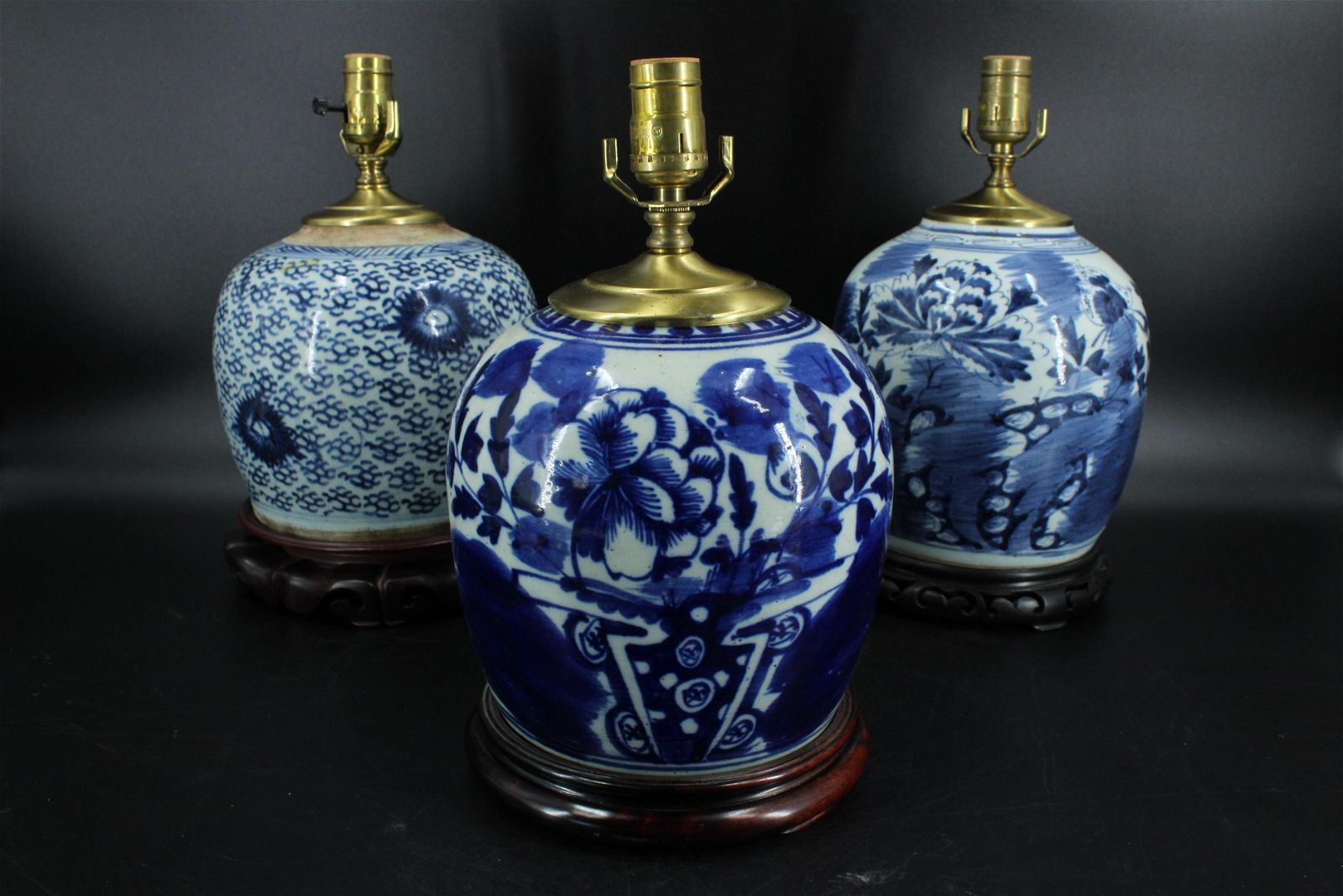 3 Chinese Blue and White Porcelain Jar Table Lamps