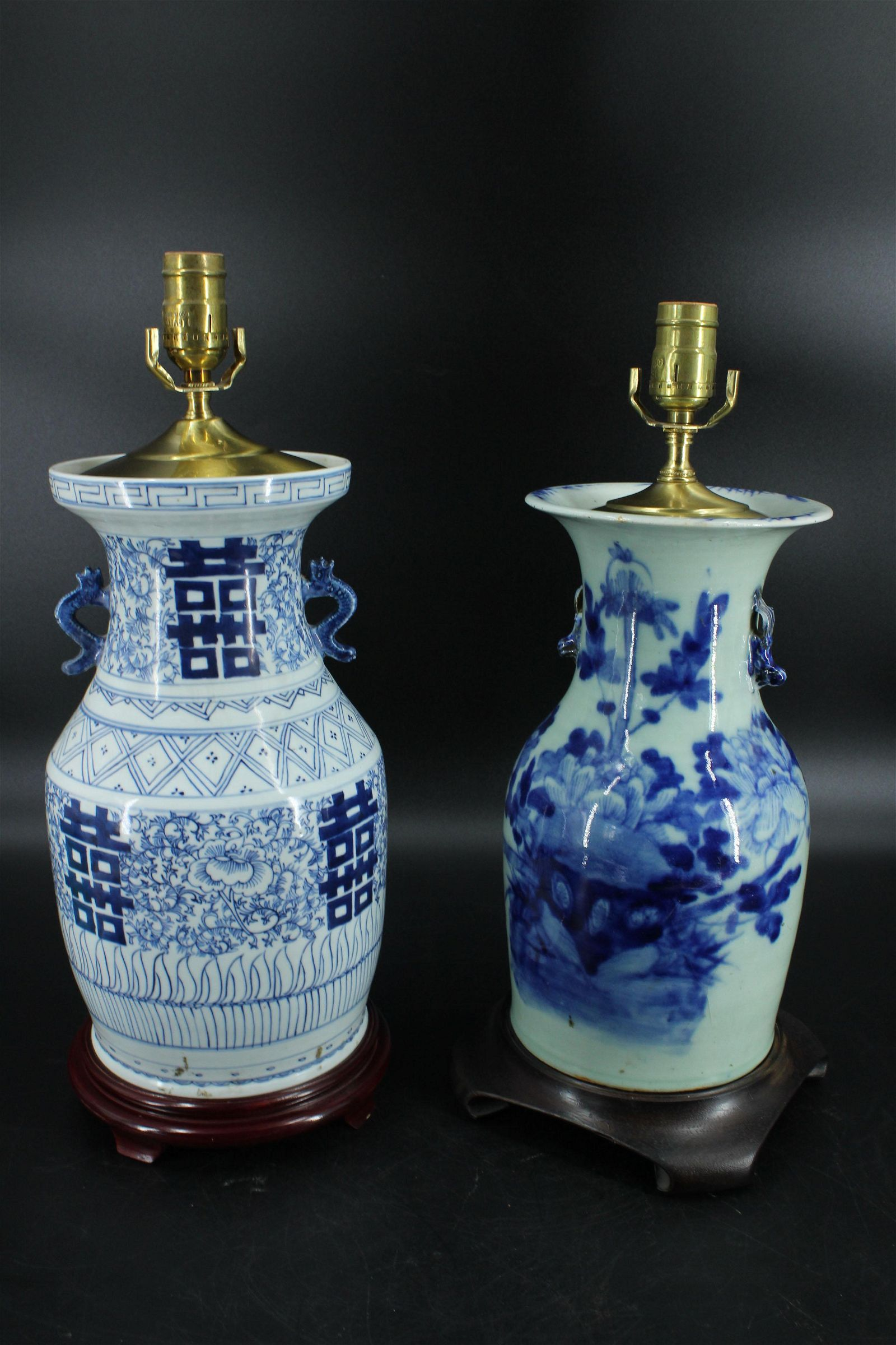 2 Chinese Blue and White Vase Table Lamps