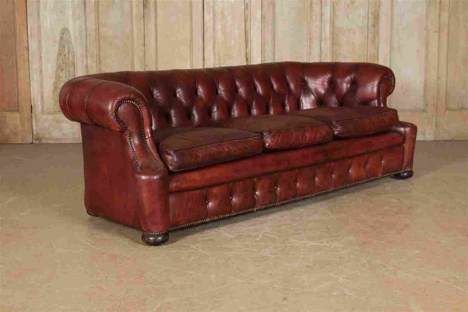 English Style Leather Chesterfield Sofa