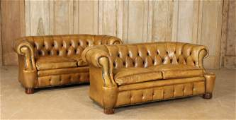 Pair Vintage Leather Chesterfield Sofas