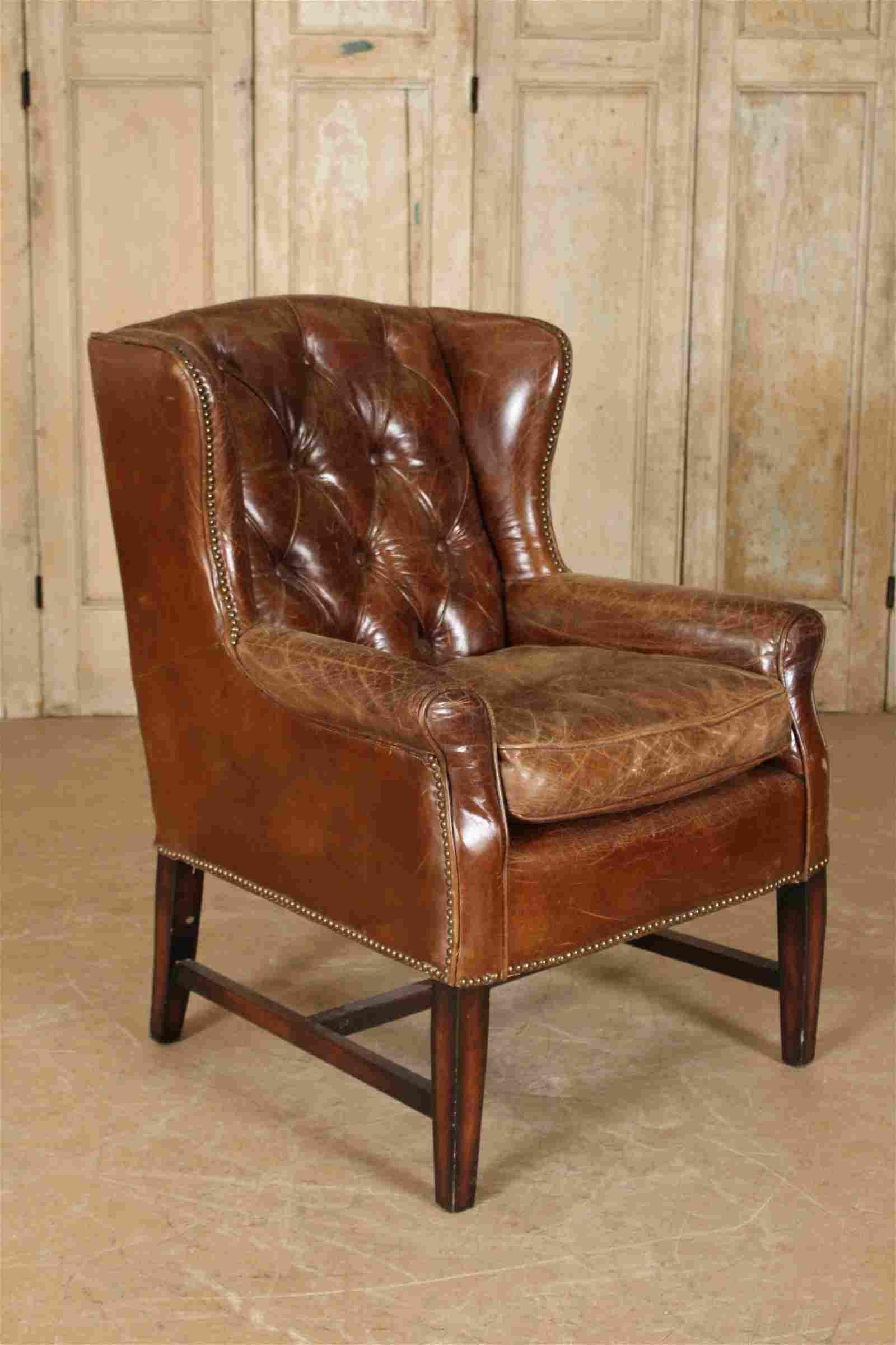 Button Tufted Leather Wing Chair