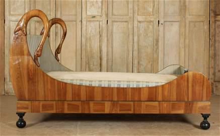 Antique Biedermeier Fantasy Swan Sleigh Bed