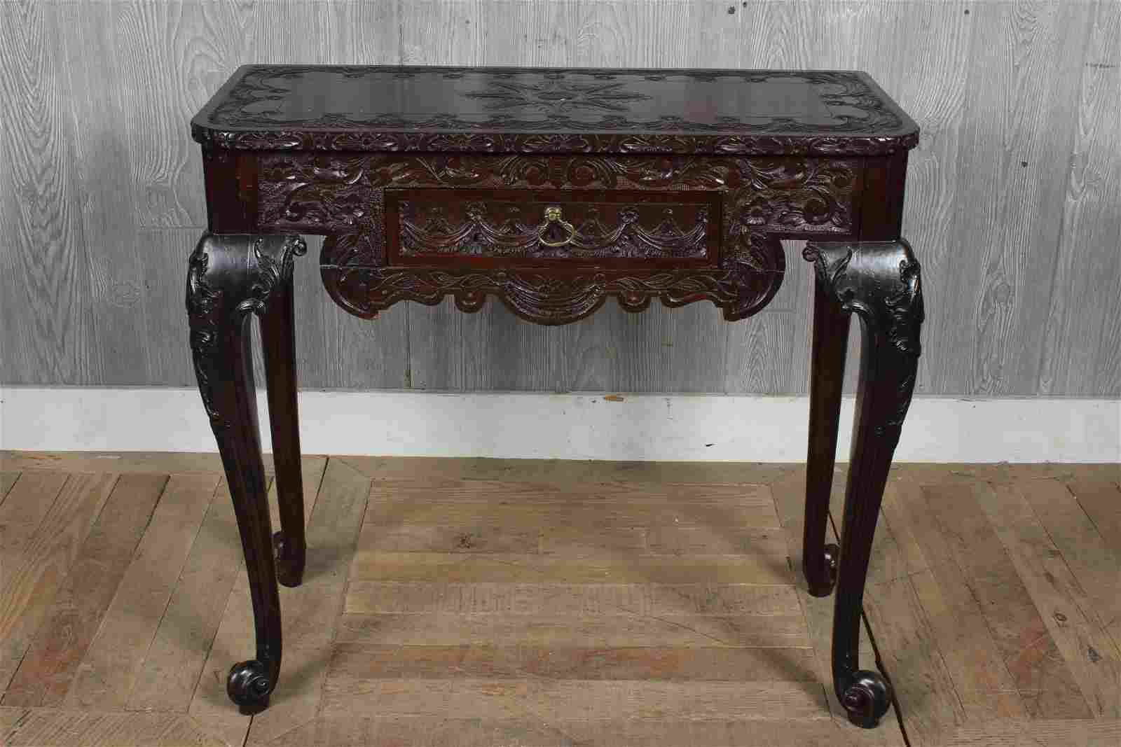 Chippendale Style Carved Mahogany Console