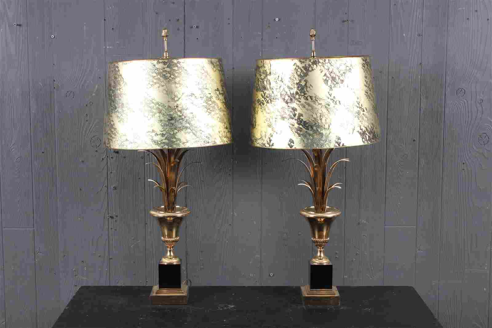 Pair Maison Charles Urn and Reed Form Lamps