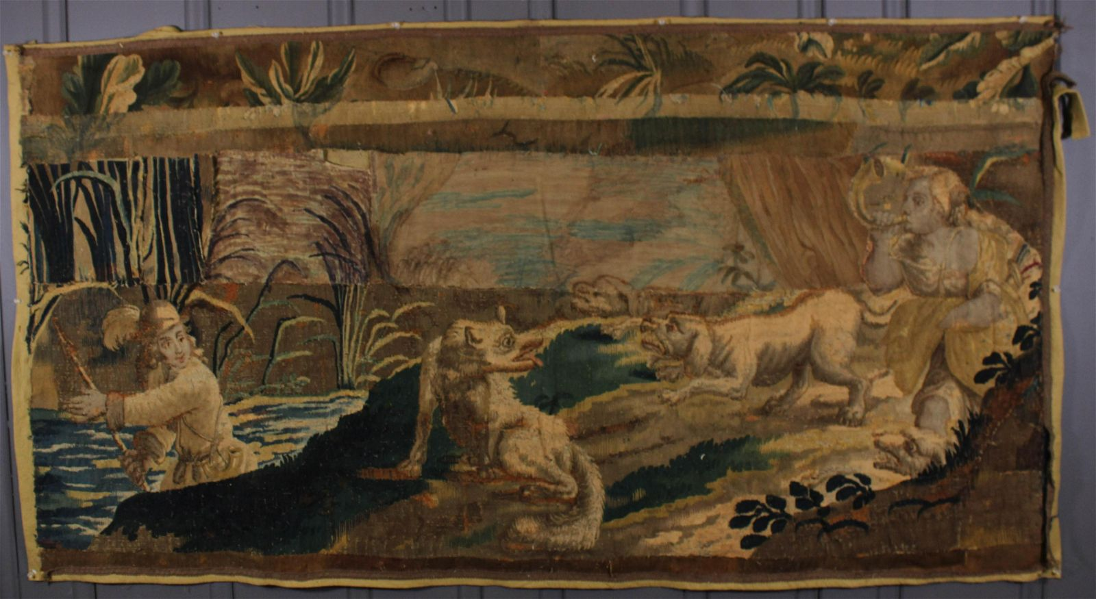 Antique Patchwork Panel of Belgian Tapestries