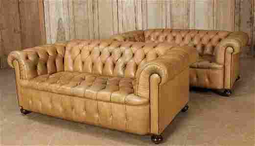 Pair of Leather Chesterfield Couches