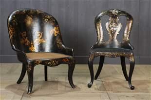 Antique 19th C Papier Mache Chairs