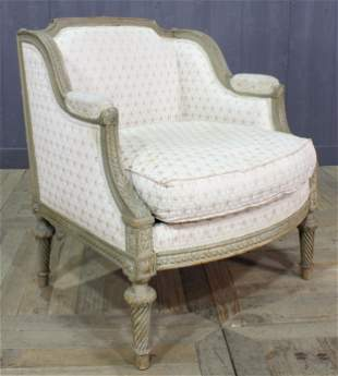French Louis XVI Style Carved & Painted Canape