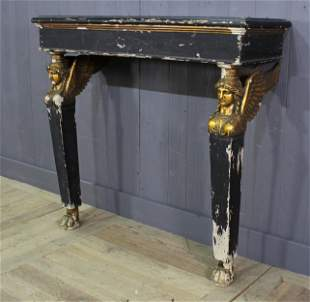 An Empire Style Gilt Wood Carved & Painted Console