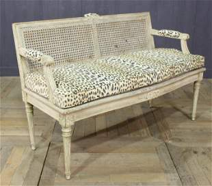 French Louis XVI Style Carved & Painted Settee
