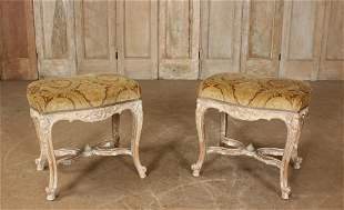 Pair of French Louis XV Style Carved Benches