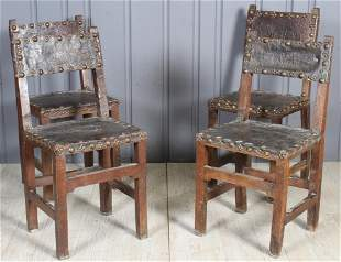 4 Belgian Studded Leather Chairs